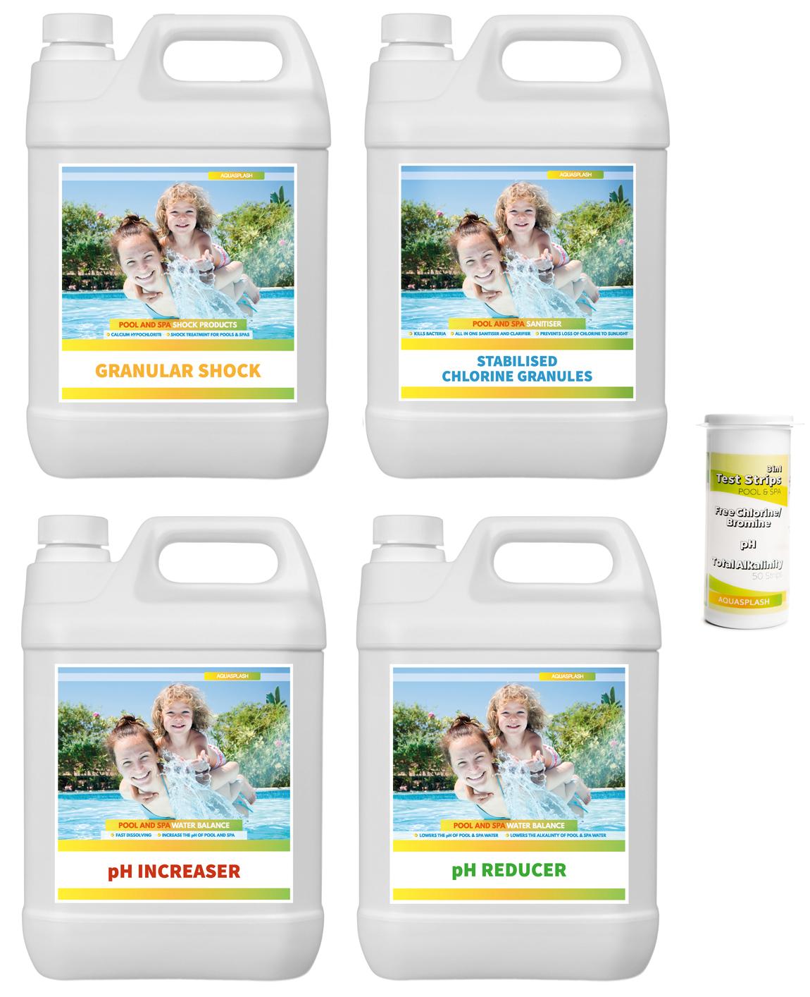 Aquasplash swimming pool water treatment kit - Swimming pool water treatment chemicals ...